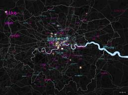 Map of most positive and negative words in London overlaid with transport data and Instagram posts in London Data Streams exhibit