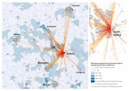 Network visualisation by Tekja showing commuter patterns and workplace population in Oxford