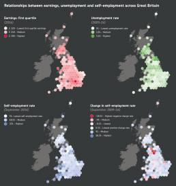 Infographics by Tekja for the Insights report by Understanding society showing relationships between earnings, employment and sefl-employment in the UK
