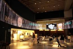 The cafe of the Museum of London with the Pulse real time installation by Tekja
