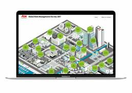 View of the interactive 3d map that allows selection of risks by industry made by Tekja for AON