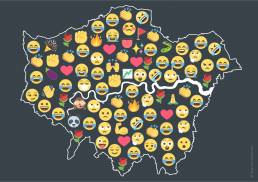 Emoji map of London by Tekja, showing most popular emojis by boroughs during the general election