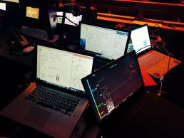 Technical setup with laptops with code running for the Biometrics Live event by Tekja for BBC Click
