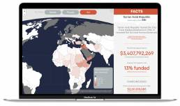 View of the 'Movement' dashboard by Tekja for One Campaign showing a map with amount of humanitarian aid by country
